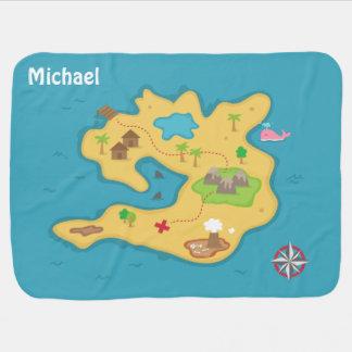 Mantita Para Bebé Mapa del tesoro de la aventura de la isla del