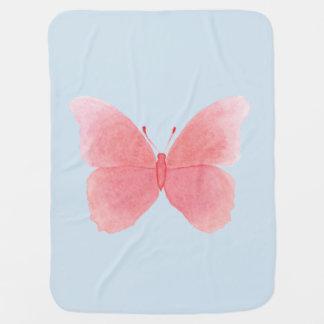 Mantita Para Bebé Mariposa rosada de la acuarela