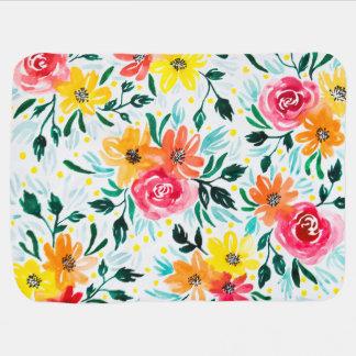 Mantita Para Bebé Modelo de flores colorido femenino de la acuarela