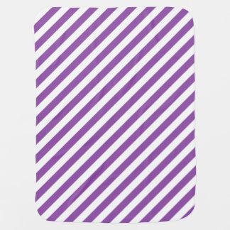 Mantita Para Bebé Modelo diagonal púrpura y blanco de las rayas