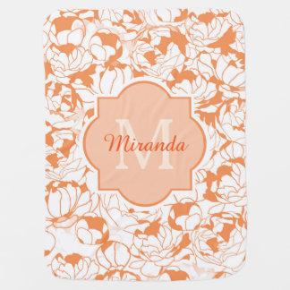 Mantita Para Bebé Monograma femenino floral anaranjado moderno con