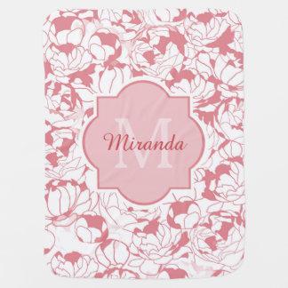 Mantita Para Bebé Monograma femenino floral rosa claro moderno con