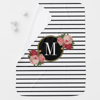 Mantita Para Bebé Monograma floral rayado blanco negro femenino
