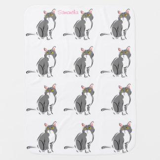 Mantita Para Bebé Nombre opcional de los gatos grises rosados