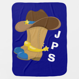 Mantita Para Bebé Occidental azul del gorra de las botas de vaquero