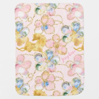 Mantita Para Bebé Oro floral femenino del rosa del unicornio