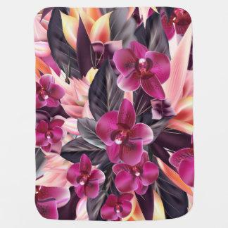 Mantita Para Bebé Orquídeas. Diseño tropical con las flores hermosas