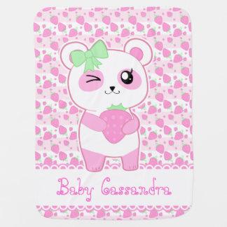 Mantita Para Bebé Oso de panda lindo de Kawaii del rosa de la fresa
