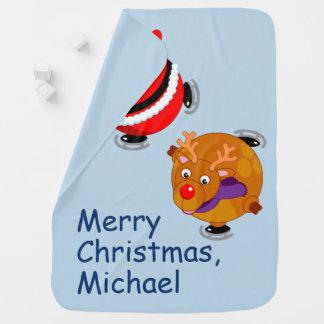 Mantita Para Bebé Patinaje de hielo negro de Papá Noel y de Rudolph,
