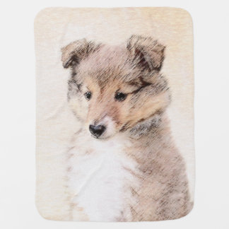 Mantita Para Bebé Perrito del perro pastor de Shetland que pinta