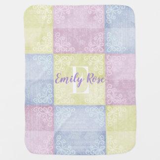 Mantita Para Bebé Personalizado azul y amarillo del rosa en colores