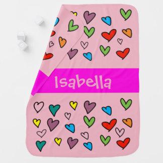 Mantita Para Bebé Personalizado rosado femenino lindo colorido del