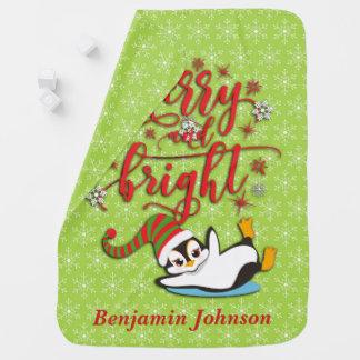 Mantita Para Bebé Pingüino feliz y brillante personalizado