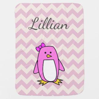 Mantita Para Bebé Pingüino rosado lindo del dibujo animado