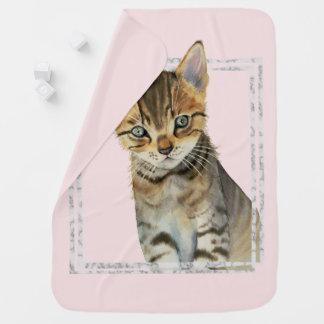 Mantita Para Bebé Pintura del gatito del Tabby con el falso marco de