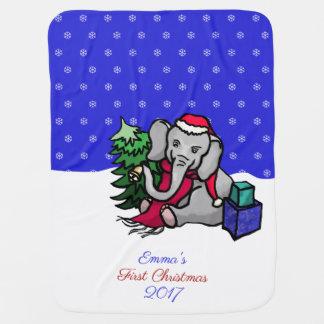 Mantita Para Bebé Primer elefante personalizado lindo del navidad en