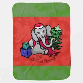 Mantita Para Bebé Primer navidad del dibujo animado del elefante