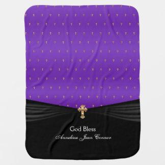 Mantita Para Bebé Púrpura de las cruces el | del oro del bautismo el