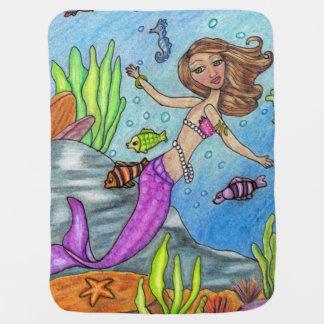 Mantita Para Bebé Rocas púrpuras bonitas de la alga marina de los