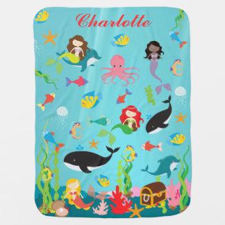 Mantita Para Bebé Sirenas hermosas y nombre del personalizado de la