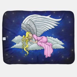 Mantita Para Bebé Soñando ángeles en vestido rosa en nube