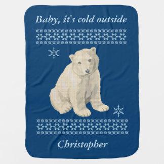 Mantita Para Bebé Suéter feo personalizado del copo de nieve del oso
