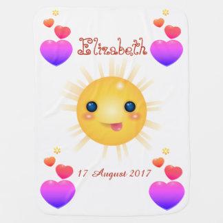 Mantita Para Bebé Sun feliz amarillo brillante y hogares rosados