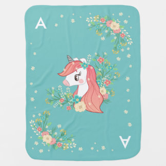 Mantita Para Bebé Unicornio floral bonito con monograma