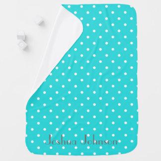 Mantita Para Bebé Y blanco nombre personalizado polkadot azul