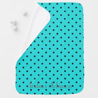 Mantita Para Bebé Y negro nombre personalizado polkadot azul