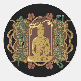 Mantra de Buda del vintage Pegatina Redonda