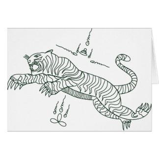 Mantra del tigre (verde) tarjeta de felicitación