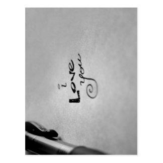 Manuscrito te amo postal