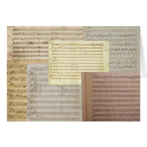 Manuscritos de la música de Mozart Tarjeton