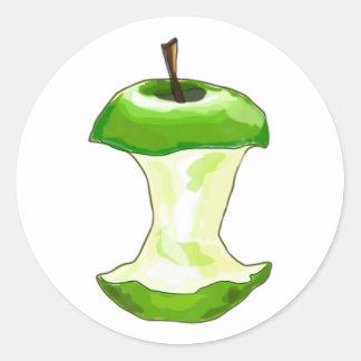 Manzana carcasa de manzana Apfelbutzen core apple Pegatina Redonda