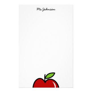 Manzana roja personalizada del papel el | de los e papeleria