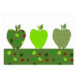 Manzanas acolchadas verde postal