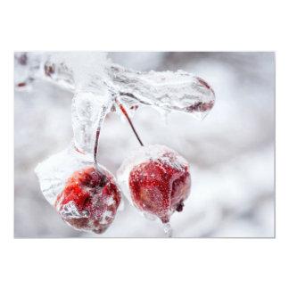 Manzanas de cangrejo congeladas en rama helada invitación 12,7 x 17,8 cm