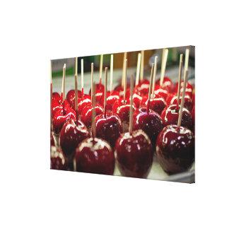 Manzanas de caramelo lona envuelta para galerias