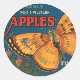 Manzanas de Mariposa Pegatina Redonda