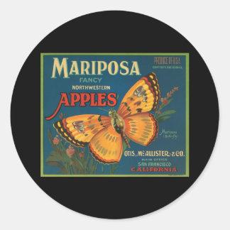 Manzanas del noroeste de lujo de Mariposa Pegatina Redonda