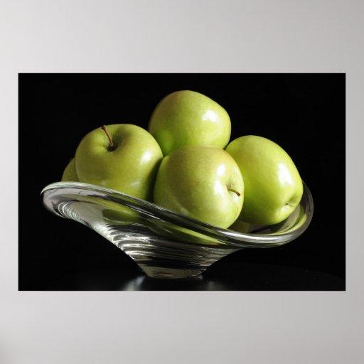 Manzanas en un bol de vidrio p ster zazzle - Bol de vidrio ...