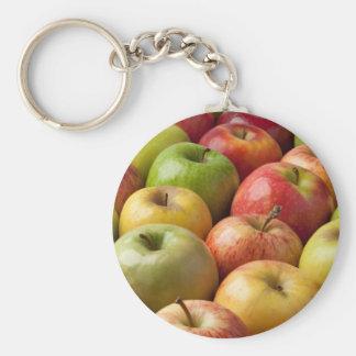 Manzanas - maduras y coloridas llavero redondo tipo chapa