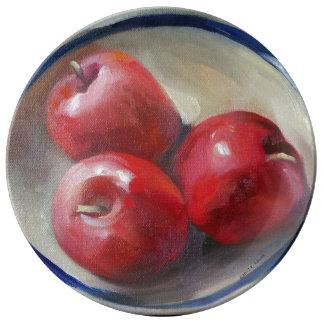 Manzanas Plato De Porcelana