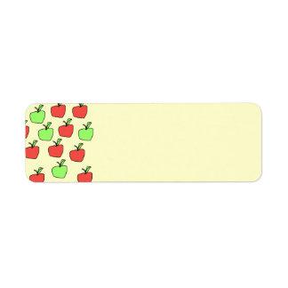 Manzanas rojas y manzanas verdes, modelo etiqueta de remitente