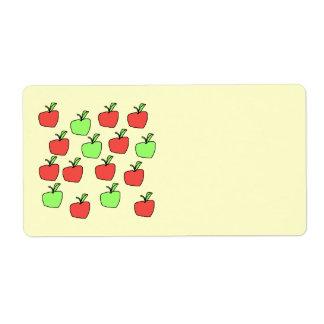 Manzanas rojas y manzanas verdes, modelo etiquetas de envío