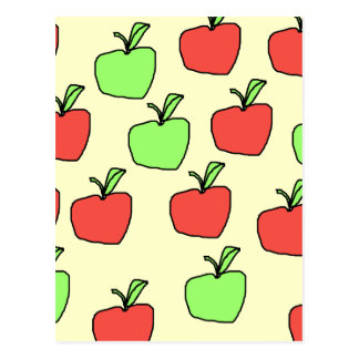 Manzanas rojas y modelo verde de las manzanas postal