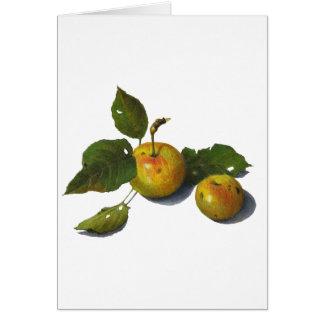 Manzanas verdes: Arte original del lápiz del color Tarjetón