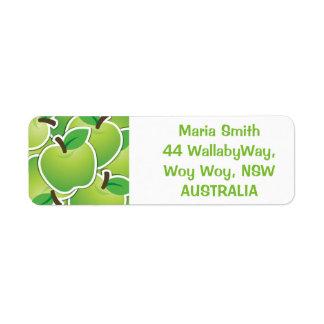 Manzanas verdes enrrolladas etiquetas de remite