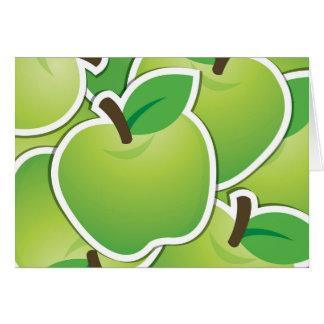 Manzanas verdes enrrolladas tarjeta de felicitación